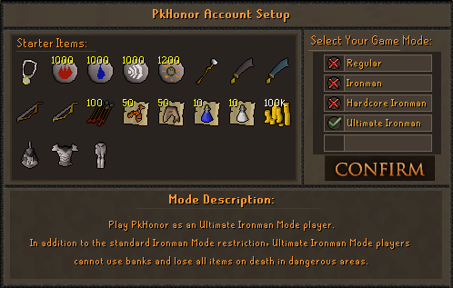 Ultimate Ironman Game Mode Selection Screen